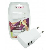 CARGADOR USB DOBLE UNIVERSAL DE PARED 5V 2A - 1A BIWOND - Inside-Pc