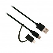 CABLE DE DATOS EWENT USB - MICROUSB + LIGHTNING MACHO 1M - Inside-Pc