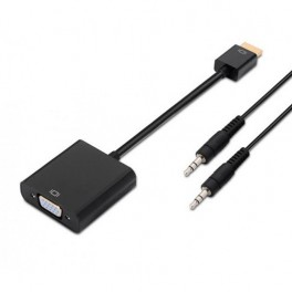 ADAPTADOR VIDEO HDMI - VGA HEMBRA + AUDIO AISENS NEGRO - Inside-Pc