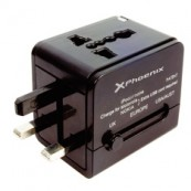 CHARGER USB UNIVERSAL TRAVEL ADAPTER PLUG CUALQUER PHOENIX WORLD 2 x USB BLACK - Inside-Pc